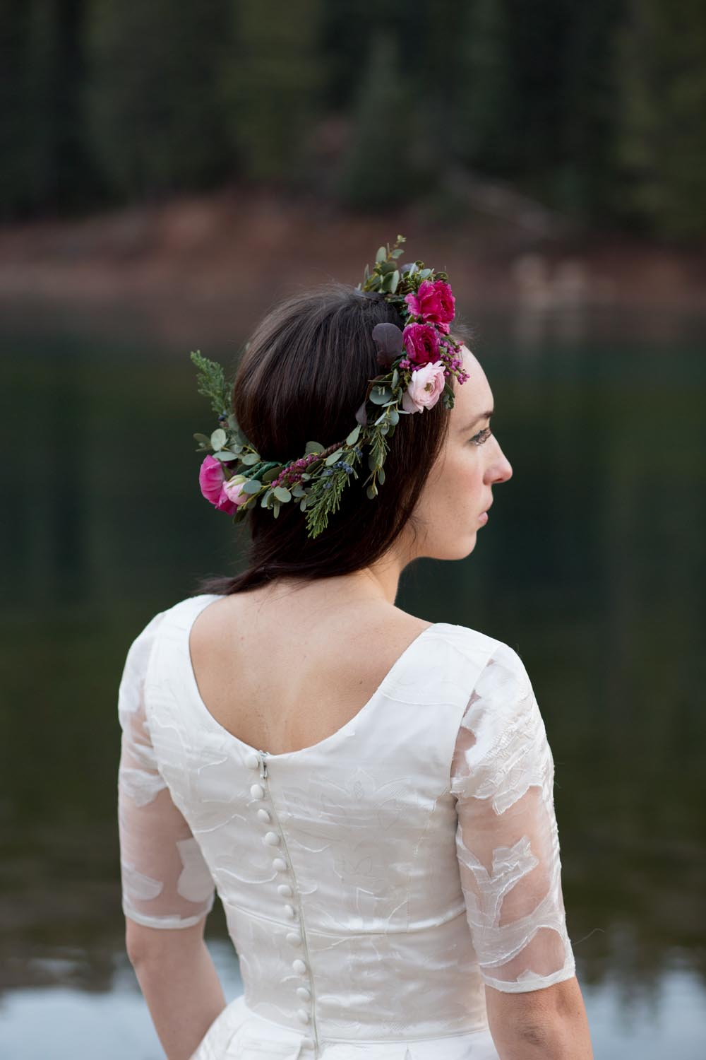 A Floral Crown and Lace Sleeves