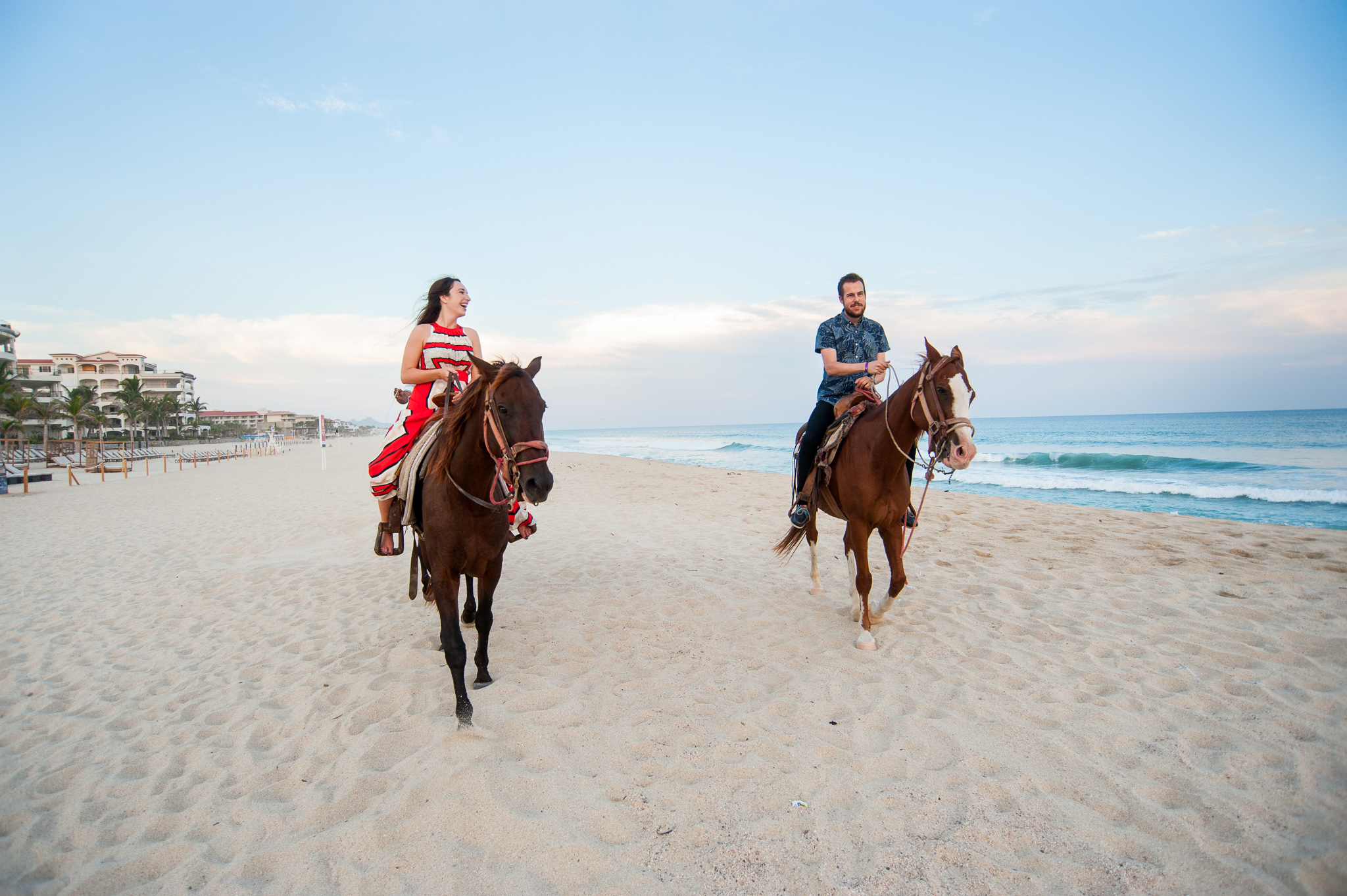 Couples Romantic Sunset Horse Back Ride on the Beach in Cabo