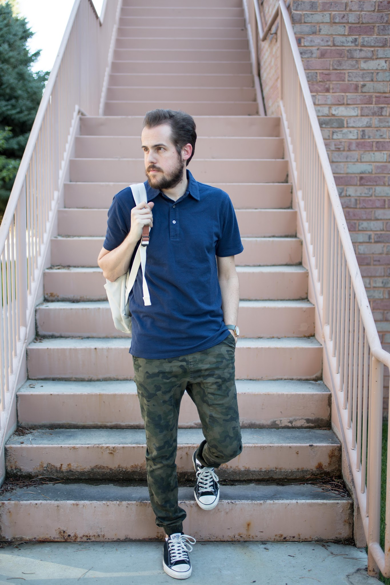 Navy and Camo Menswear Look