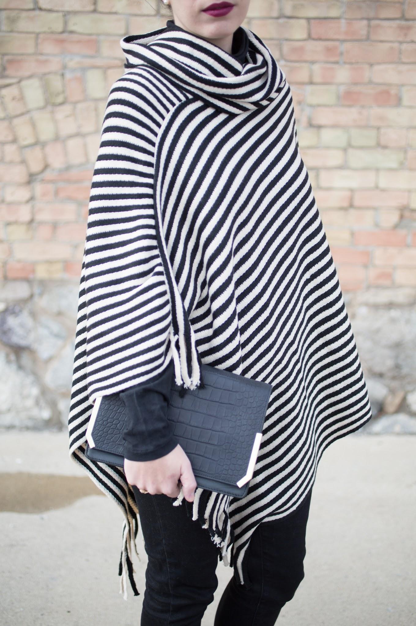 Black and White Stripe Poncho