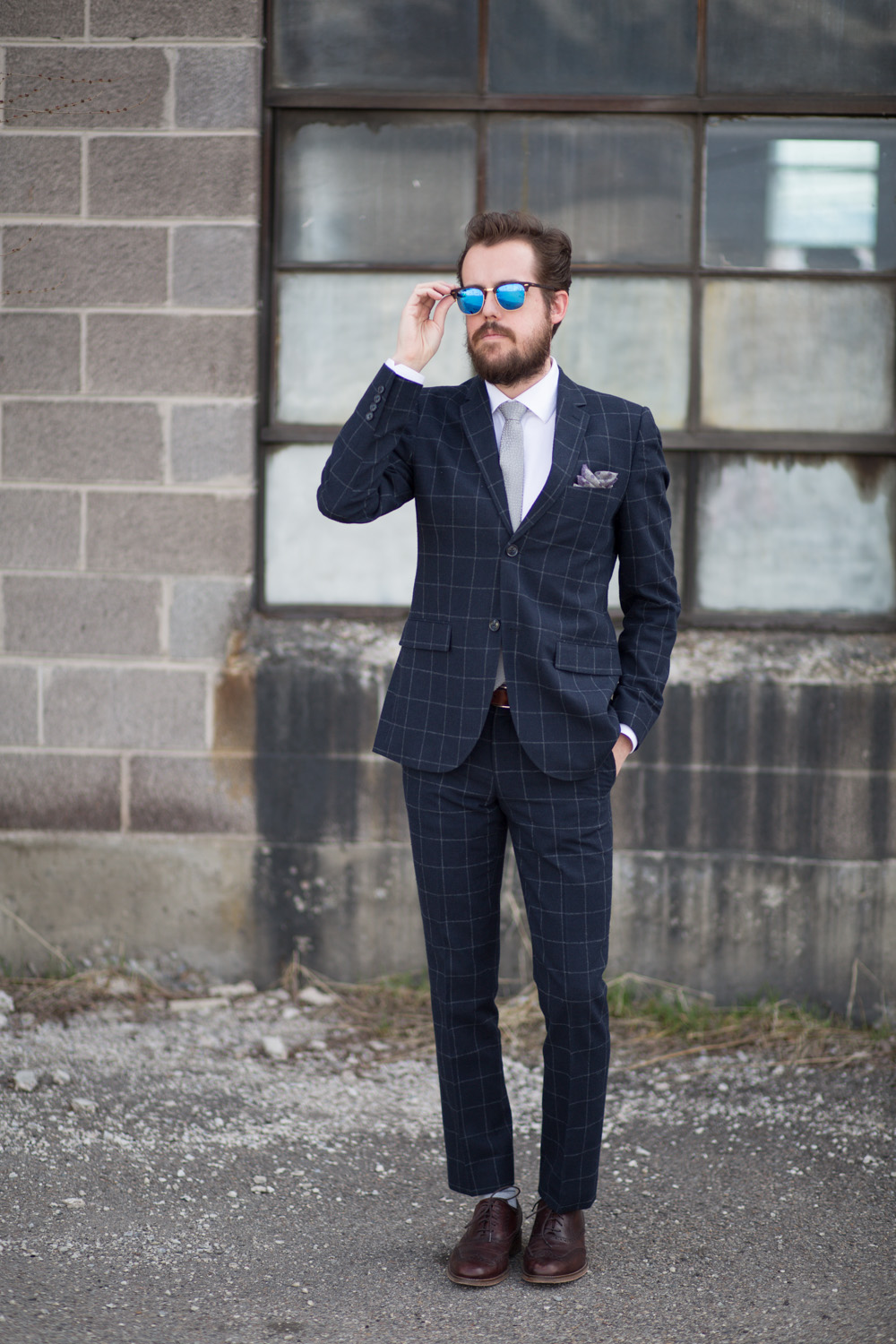 Topman Navy Windowpane Suit