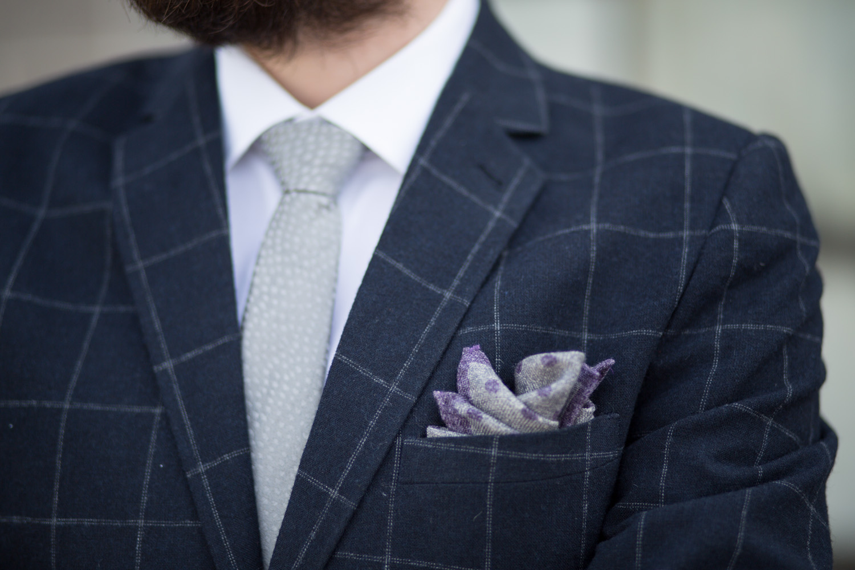 Topman Navy Windowpane Suit