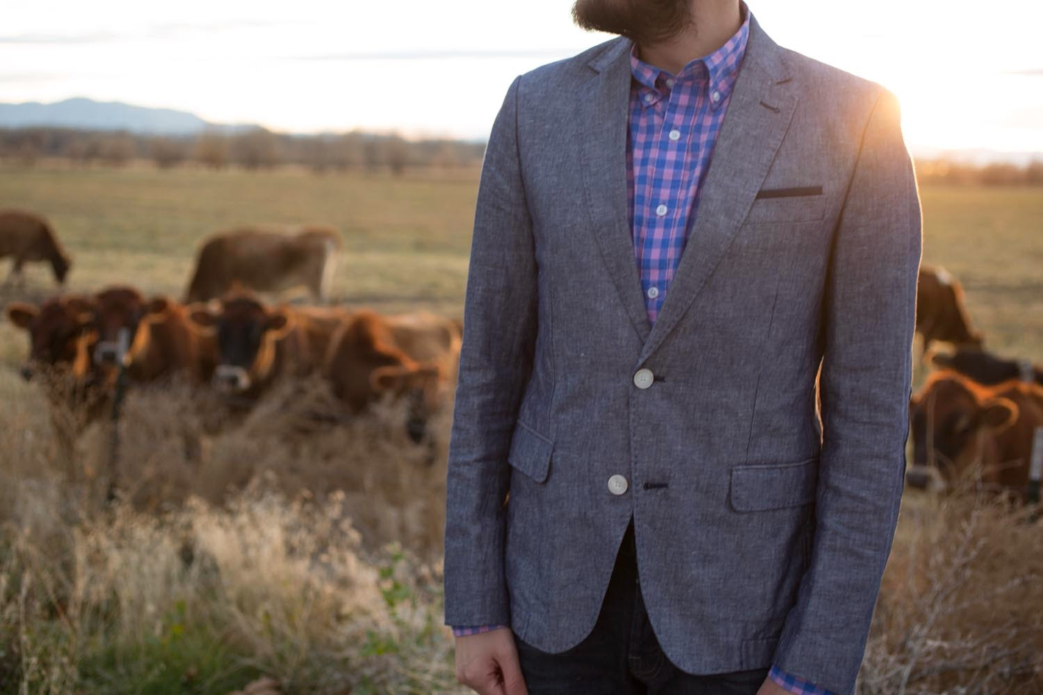 mens chambray blazer